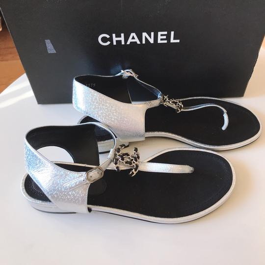 Chanel Thong Slide Mule Flat Silver Black Sandals Image 8