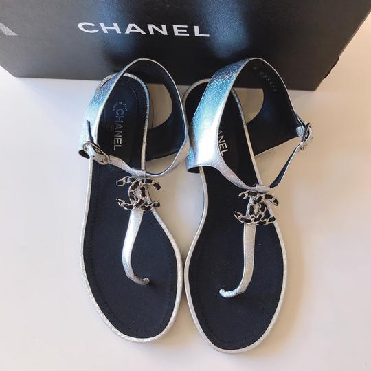 Chanel Thong Slide Mule Flat Silver Black Sandals Image 9