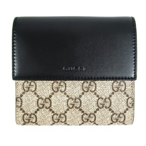 Gucci New Wallet - Beige Ebony GG Supreme Canvas - Black Leather French Flap