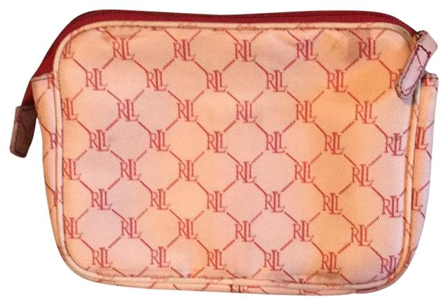 Item - Monogram Red and Pink Coated Canvas Cosmetic Bag