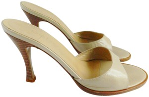 bebe Beige Off White Round Toe Tan cream Mules