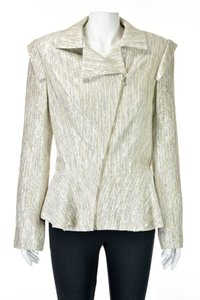 Christian Siriano Raw Silk Lurex Silver Peplum Asymmetrical Natural Blazer