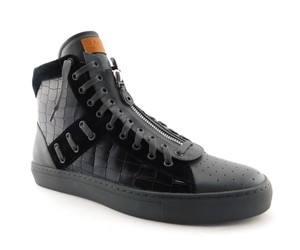Bally Black Croc Print Leather Logo Hi Top Men's Sneakers 12.5uk/13.5us Shoes