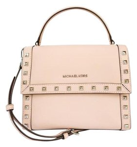Michael Kors Womens Studded Leather Pink Messenger Bag