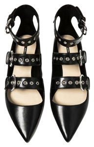 Zara Buckled Pointed Leather Black Flats