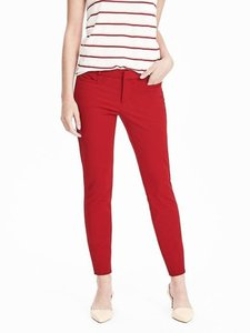 Banana Republic Petite Stretchy Classic Mid-rise Skinny Pants Red