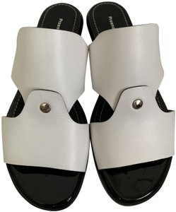 Proenza Schouler Leather Open Cut Out White Sandals