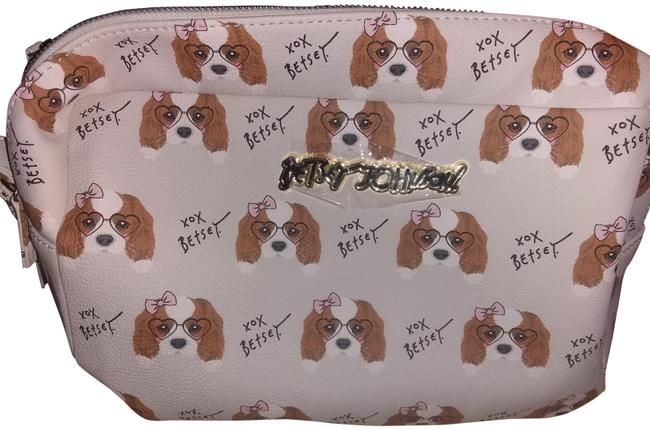 Item - Cream with Puppy Pattern Double Zip Tbj-0337 Cosmetic Bag