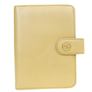 Chanel CHANEL CC Logos Agenda Note Book Cover Leather Beige Gold Italy