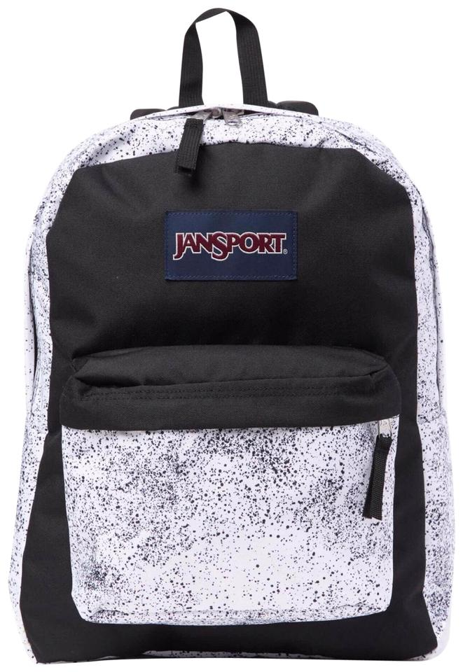 JanSport Campus School Travel Black White Textile Backpack