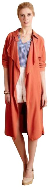 Anthropologie Tie Waist Trench Front Yoke Trench Back Yokd Trench Beck Hem Vent Open Front Styling Persimmon Jacket Image 0