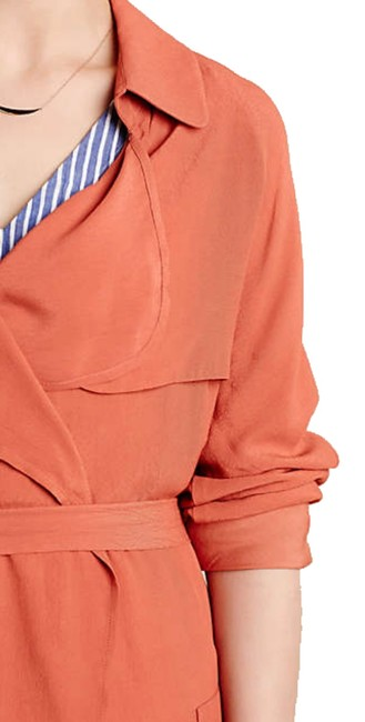 Anthropologie Tie Waist Trench Front Yoke Trench Back Yokd Trench Beck Hem Vent Open Front Styling Persimmon Jacket Image 1