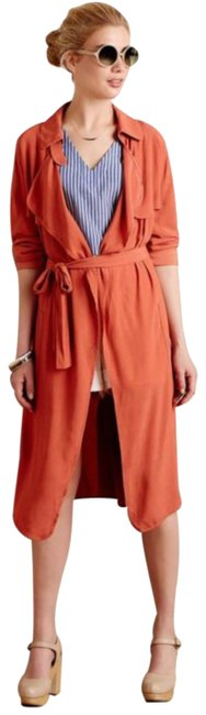 Anthropologie Tie Waist Trench Front Yoke Trench Back Yokd Trench Beck Hem Vent Open Front Styling Persimmon Jacket Image 2
