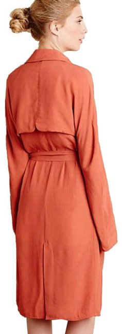 Anthropologie Tie Waist Trench Front Yoke Trench Back Yokd Trench Beck Hem Vent Open Front Styling Persimmon Jacket Image 3