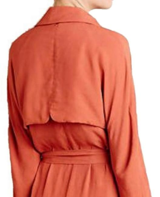 Anthropologie Tie Waist Trench Front Yoke Trench Back Yokd Trench Beck Hem Vent Open Front Styling Persimmon Jacket Image 4