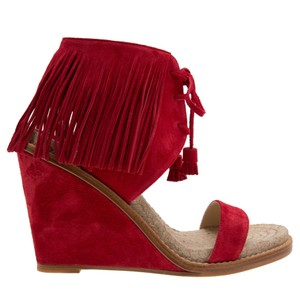 Paul Andrew Sandal Suede Red Wedges