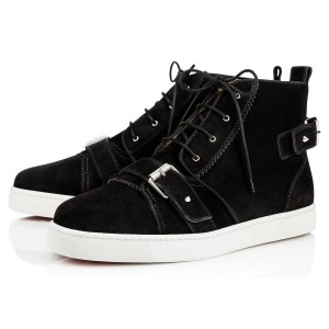Christian Louboutin Black Nono Strap Flat Suede Belted Buckle Logo Hi Top Sneakers 40 7 Shoes