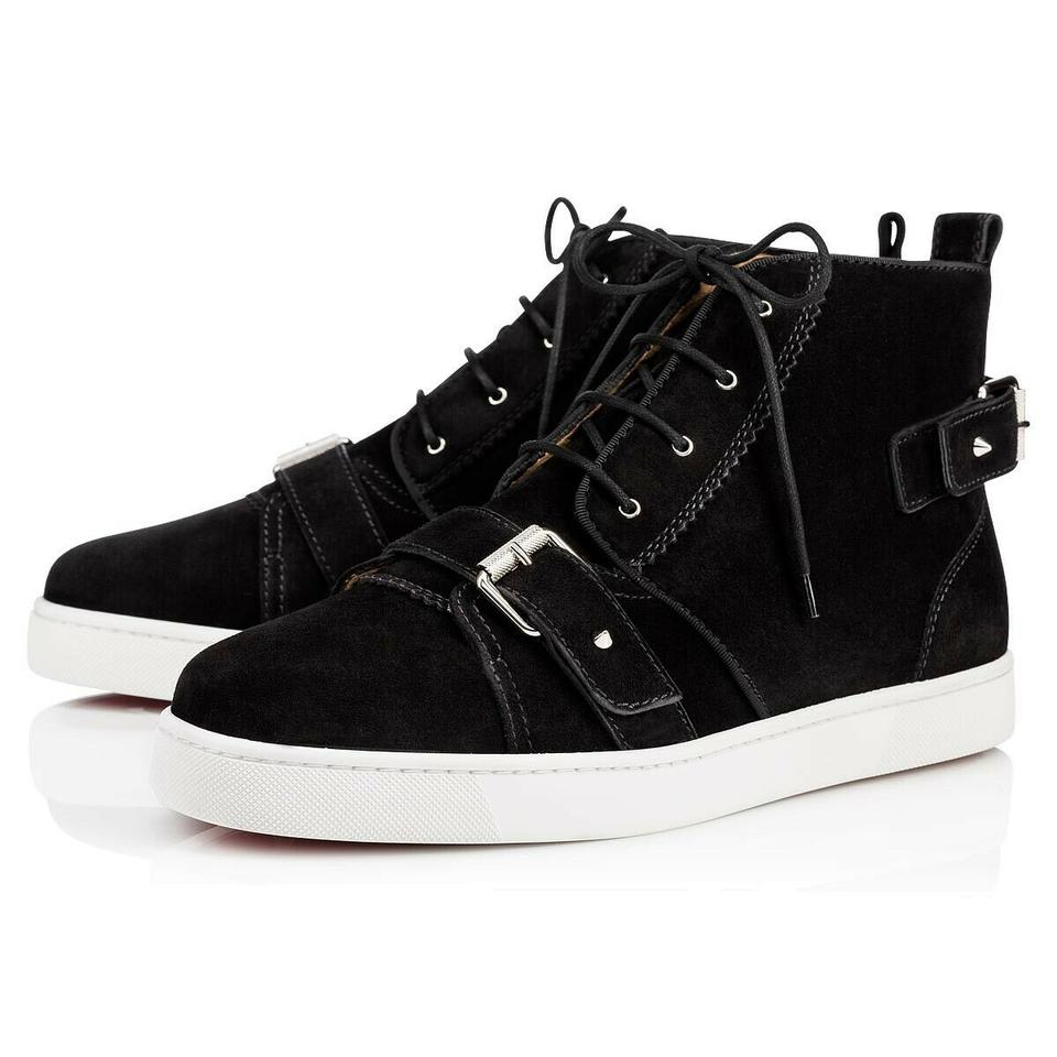 info for 845c5 d631f Christian Louboutin Black Nono Strap Flat Suede Belted Buckle Logo Hi Top  Sneakers 46 13 Shoes 35% off retail