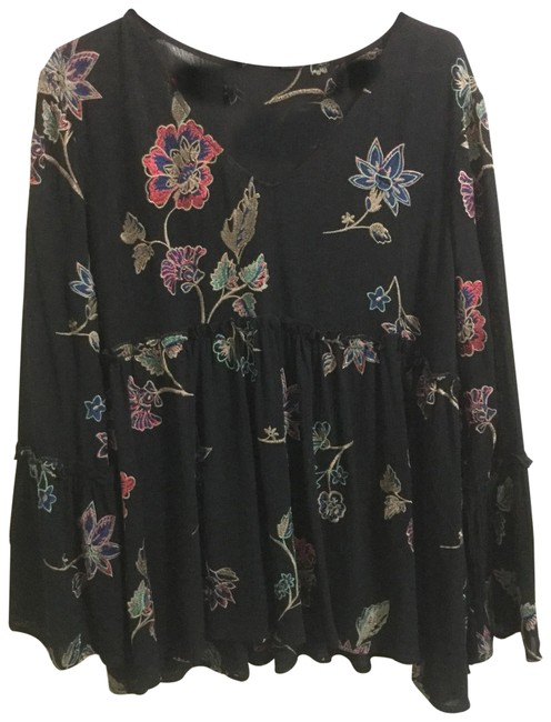 Karen Kane Black Embroidered Ruffle Blouse Size 14 (L) Karen Kane Black Embroidered Ruffle Blouse Size 14 (L) Image 1
