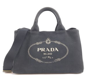 Prada Logo Tote Denim With Strap Shoulder Bag
