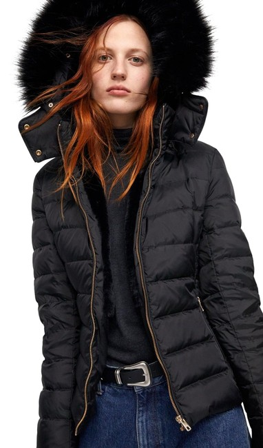 Item - Black Hooded Down Jacket Small Coat Size 4 (S)