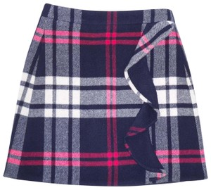 J.Crew Plaid Mini Ruffled Thick Double Serge Mini Skirt
