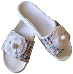 Chanel Sandals Camellia Grosgrain Slide White Multi-colors Mules