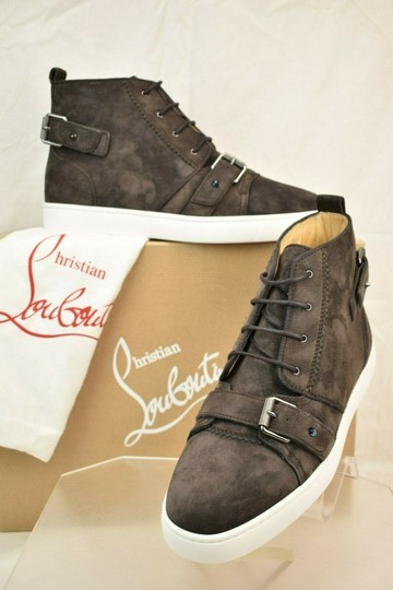 Christian Louboutin Brown Nono Strap Flat Suede Belted Buckle Logo Top Sneakers 42.5 9.5 Shoes Image 1