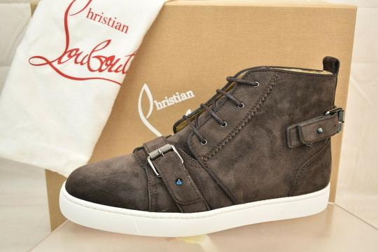 Christian Louboutin Brown Nono Strap Flat Suede Belted Buckle Logo Top Sneakers 42.5 9.5 Shoes Image 3