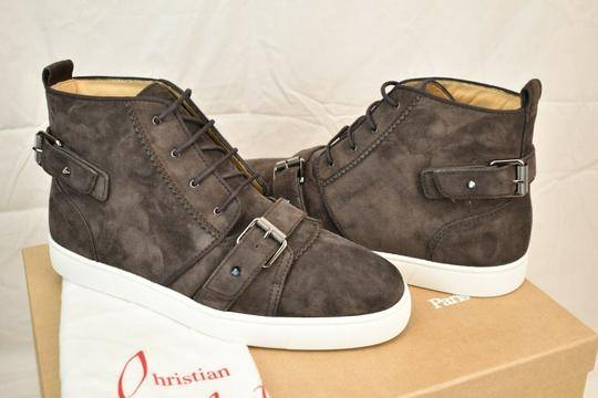 Christian Louboutin Brown Nono Strap Flat Suede Belted Buckle Logo Top Sneakers 42.5 9.5 Shoes Image 4