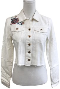 ae728d2f23 Jessica Simpson Cropped Embroidered Jean Off White Womens Jean Jacket