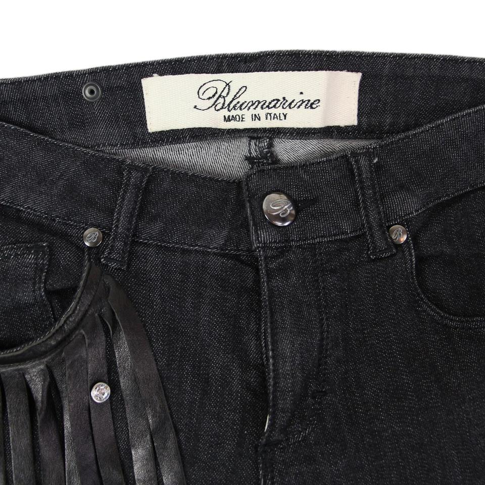 50% off for whole family info for Blumarine Black Leather Strips & Decorative Studs Jeans Denim It 38 Us Us  4-6 Pants Size 4 (S, 27) 74% off retail