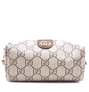 Gucci Logo Pouch Ophidia Canvas brown Clutch
