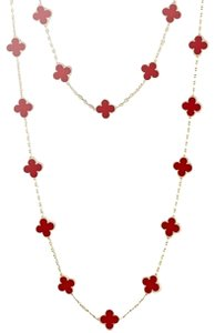 Van Cleef & Arpels Vintage Alhambra long necklace, 20 motifs Yellow gold, Carnelian