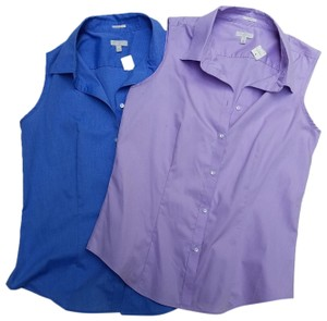 Talbots Button Down Shirt Purple and blue