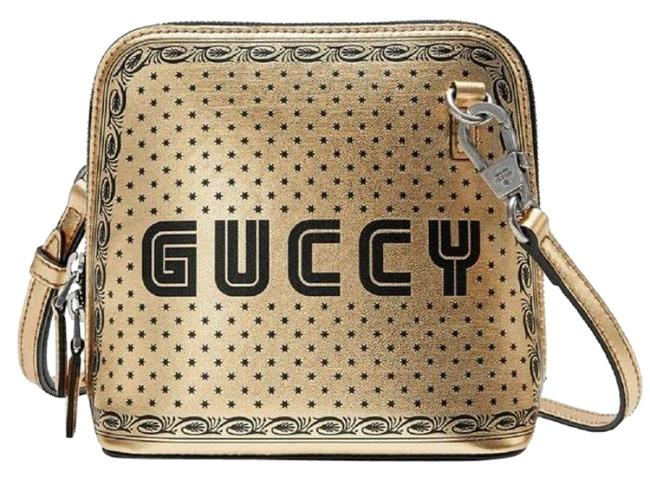 Gucci #511189 Moon Steller Gold/Black Leather Cross Body Bag Gucci #511189 Moon Steller Gold/Black Leather Cross Body Bag Image 1