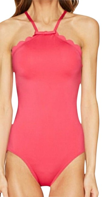 Item - Tangine Pink Scalloped High Neck Swimsuit One-piece Bathing Suit Size 8 (M)