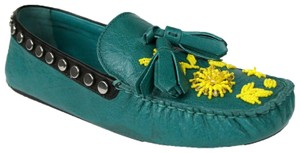 Prada Women's Leather Studded Green Flats