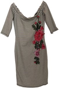 Viola short dress Striped & Floral Embroidered Bodycon on Tradesy