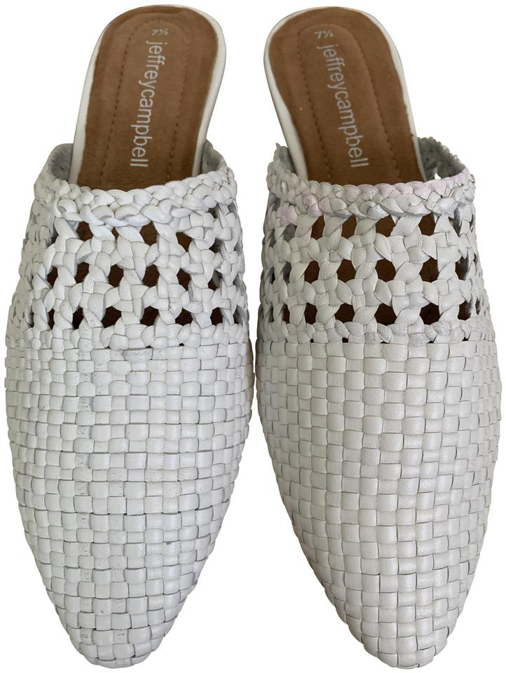Jeffrey Campbell White Atrata Woven Leather Pointed Toe