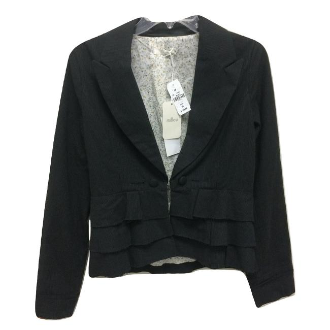 Item - Gray Tiered Ruffle Striped Blazer Size 0 (XS)