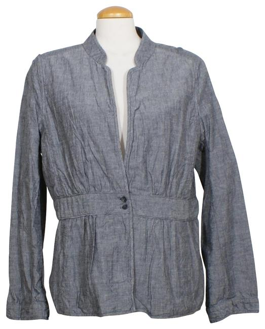 Item - Blue XL Cotton Chambray Stand Collar Jacket Size 18 (XL, Plus 0x)
