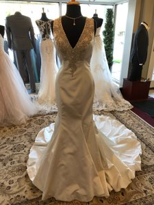 Allure Bridals Satin Gown Style 9219 Sexy Wedding Dress Size 12 (L)
