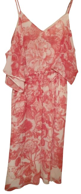 Item - White/Coral Cold Shoulder Mid-length Casual Maxi Dress Size Petite 0 (XXS)