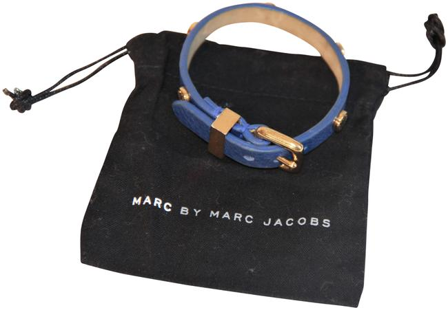 Item - Blue Leather with Polished Gold-plated Bracelet