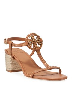 Tory Burch Espadrille Studded Logo T Strap Tan Sandals