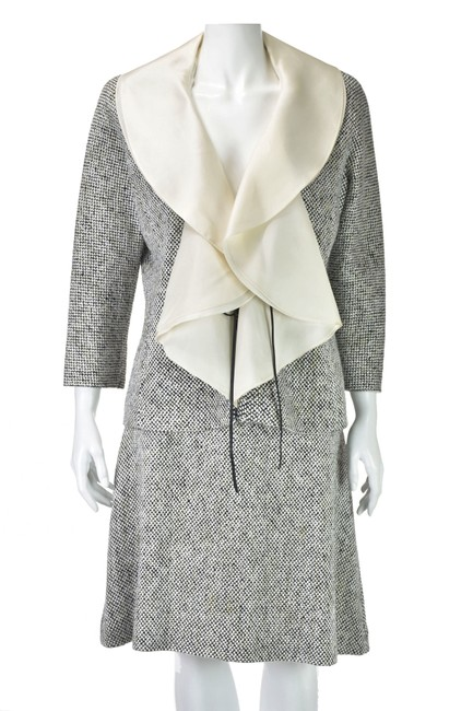 Item - Black & White With Organza Collar and Waterfall Lapels Skirt Suit Size 8 (M)