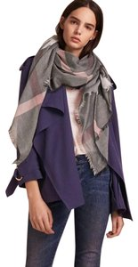 Burberry Gray and Pink Square Lightweight Scarf/Wrap