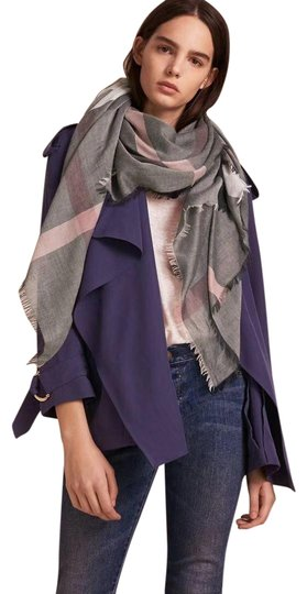 Burberry Gray and Pink Square Lightweight Scarf/Wrap Image 0