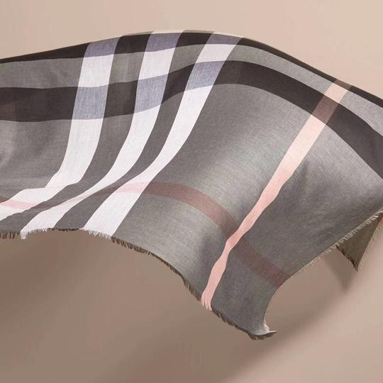 Burberry Gray and Pink Square Lightweight Scarf/Wrap Image 1
